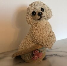 Living Stone Poodle With Hat Pup Figurine Vintage