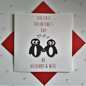 OUR FIRST VALENTINE AS HUSBAND AND WIFE PENGUIN CARD