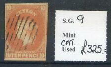 Ceylon 1857-9 10d dull vermillion Chalon Head 4 good margins used(2017/11/08/10)