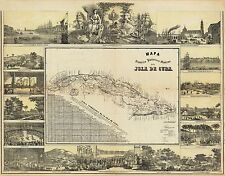 Map of Cuba 1853 Old Caribbean Map Giclee Canvas Print 28x22
