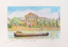 """JEAN FERNAND """"THE BARGE"""" Hand Signed Limited Edition Lithograph Art"""