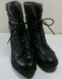Women's Streetwear Society Black Faux Leather Combat Boots Lace Up Size 9 Zipper