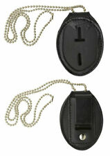 Mens Leather Clip-on Badge Holder w/ Neck Chain for Police Officer Security Fire