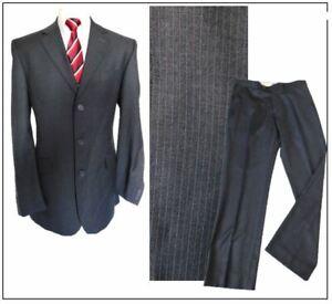 """Vintage BHS 2 piece mens suit Ch40""""L W34"""" L33"""" Grey Stripe Smart"""