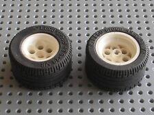2 x lego technic wheel white wheel 49.6 x 28 vr ref 6595 + tyre 6594/8440 8479