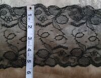 A40 Antique Trim Wide Black Net Lace Salvage Edging 1yd Sewing Costume Clothing
