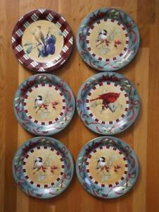 6 Lenox Winter Greetings Everyday Dinner Plates 4 Chickadee Cardinal Tartan EXC