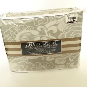 Charleston Duvet Set Full / Queen Jacquard Sage Reverses To Woven Solid NEW