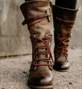 Ladies Retro Flat Knight Mid Calf Boots Lace Up Combat Low Heel Riding Boot Shoe