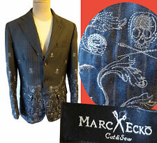 Marc Ecko Cut and sew Gothic SKull embroidered punk coat patch jacket MOD steam