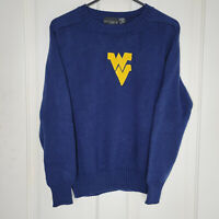 Vintage WVU Embroidered Sweater West Virginia Mountaineers Size 38 Navy Yellow