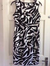Marks Spencer Dress Size 12 Linen Black White Sundress Lined Vgc