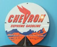 VINTAGE SUPREME CHEVRON GASOLINE PORCELAIN GAS SERVICE STATION PUMP PLATE SIGN