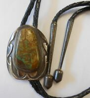 Vintage Southwestern Mens 45 mm Turquoise Sterling Silver Bolo Tie Great Matrix