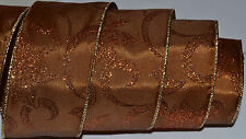 Wired Ribbon~Rust Sparkle Poinsettia~Christmas Flower~Brown~Wreath~Holiday~Bow