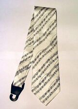 White Manuscript Music Design Men's Gents Silk Tie Choir Orchestra Musician NEW