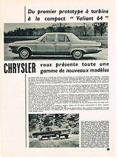 PUBLICITE ADVERTISING  1963    CHRYSLER   VALIANT 64