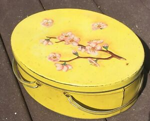 VTG Yellow Litho Picnic Basket Oval Handled Tin Retro Metal Container Sewing Box