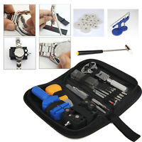 Watch Repair Tool Kit Opener Link Remover Spring Bar Hammer + Back Case Press