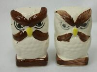 "Large Vintage Mexico Pottery Hand Painted 4"" Owl Salt and Pepper Shakers"