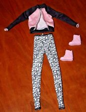 BARBIE DOLL WHITE/BLACK LEGGINGS, BLACK/PINK JACKET,  & HIGH TOP ATHLETIC SHOES