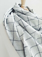 Etsy Handmade Plaid Blanket Scarf, Wool - Grey and Black Checkered