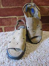 "WOMEN'S DR SCHOLL'S TAN LEATHER SANDALS ""CATHI"" OPEN TOE & HEEL SHOES SZ 7 1191"