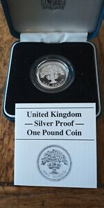 1987 Royal Mint Silver Proof English One Pound £1 Coin with COA Case & Box