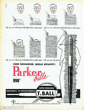 PUBLICITE ADVERTISING 076  1959  Parker stylo bille  super recharge T.ball