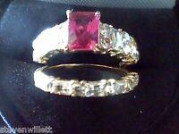 RUBY & LCS DIAMOND EMERALD CUT WEDDING ENGAGEMENT RING SET sz 6 SZ 7 SZ 8 SZ 9
