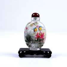 Inner Painting Snuff Bottle Chinese Antique Beautiful Couple Bird