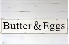 EMBOSSED LARGE METAL BUTTER & EGGS SIGN~VINTAGE FARMHOUSE STYLE