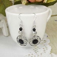 Cute New Tibetan Silver Black Enamel & Bead Charm Dangle Drop Earrings