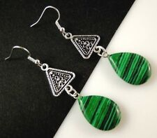 1 Pair of Malachite Gemstone Tear Drop Dangle Earrings #1784
