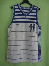 Maillot Adidas Bleu et blanc 80'S Basket Porté #11 vintage jersey - S / M