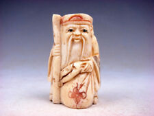 Japanese Detailed Hand Carved Netsuke Sculpture Old Man Cane Bag #07221802