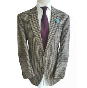 "Crombie Classic Vintage Houndstooth Blazer Sports Coat Jacket Chest 44"" Regular"