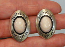 Estate Navajo TG Sterling Silver Shell Mop Shadow Box Clip Earrings T Goodluck
