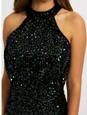 New Lipsy Sequined Halterneck Pencil Dress Size 14