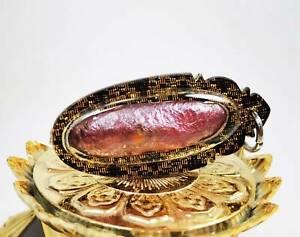 Leklai Suriyan Racha Red Thai Amulet Magic cave natural Stone waterproof Pendant