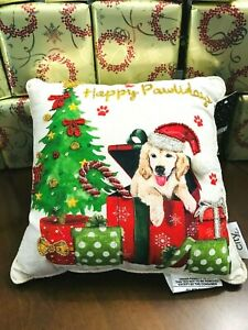 """Holiday **HAPPY PAWLIDAY GOLDEN LAB** Beaded trim Christmas PILLOW 12""""X12"""" NWT"""