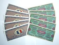 "SET DE 10 BILLETS - 50 Francs ""Allied Military Currency"" (REPRODUCTION)"