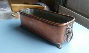 Vintage Copper Planter Trough Brass large Lions Head Handles Claw Feet