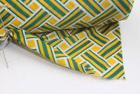 Stoffbahn Stoff fabric grün gelb original vintage Synthetik 1970er lfd. Meter