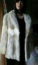 Genuine Unique Real Vintage Long Fox Rabbit Fur Coat Jacket Sz 12 Excellent Cond