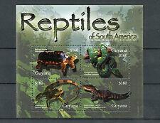 Guyana 2005 MNH Reptiles of South America 4v M/S Tortoise Boa Snakes Iguana