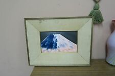 Japanese Modernist Cloisonne Enamel Art Plaque Abstract Mt Fuji Painting Framed