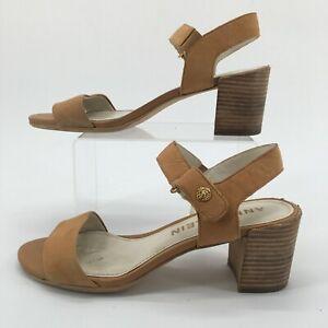 Anne Klein Women 10M Jackie Ankle Strap Open Toe Block Heel Sandal Brown Leather
