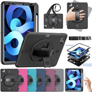 """Heavy Duty Rotating Stand Strap Case Screen Cover For iPad Air 10.9 Pro 11"""" 2021"""