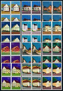 [PG10186] Liechtenstein 1978 Houses good set in block of 4 stamps VF MNH $75